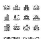 set of buildings icons  such as ... | Shutterstock .eps vector #1494380696