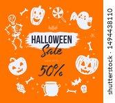happy halloween vector banner... | Shutterstock .eps vector #1494438110
