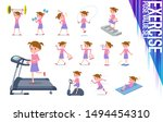 a set of girl on exercise and...   Shutterstock .eps vector #1494454310