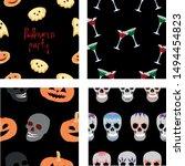 set halloween pattern. pumpkins ... | Shutterstock .eps vector #1494454823