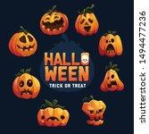 various expression of pumpkins... | Shutterstock .eps vector #1494477236