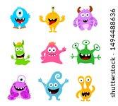 set of cute monsters  monster... | Shutterstock .eps vector #1494488636