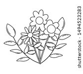isolated flowers vector design... | Shutterstock .eps vector #1494523283