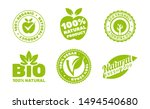 organic natural bio label icons ...