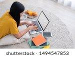 asian female freelancer working ... | Shutterstock . vector #1494547853