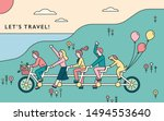 people riding multiplayer bikes ... | Shutterstock .eps vector #1494553640