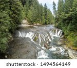 Wonderful aerial pictures of Middle Lewis Falls on the rugged Lewis River in Skamania County and the Gifford Pinchot National Forest in Washington State.