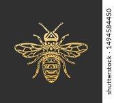 golden abstract ornamental bee... | Shutterstock .eps vector #1494584450