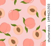 cute pink peach and sliced... | Shutterstock .eps vector #1494621503