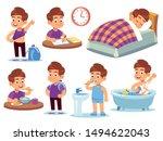 boy daily activities. little... | Shutterstock .eps vector #1494622043