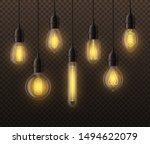 realistic light bulbs. hanging... | Shutterstock .eps vector #1494622079