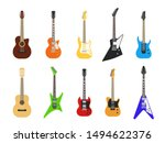 flat guitars. acoustic and... | Shutterstock .eps vector #1494622376