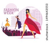 fashion industry flat social... | Shutterstock .eps vector #1494643553