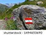 Alpine hiking trail in Austria, marked with painted Austrian flag on solid rock along the route.