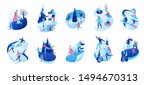 isometric winter people  3d... | Shutterstock .eps vector #1494670313