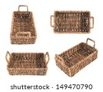 Brown wicker basket, box shaped, isolated over white background, set of four foreshortenings - stock photo