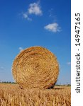 Single hay ball on a field with blue sky - stock photo