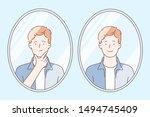 skin care concept. teenager... | Shutterstock .eps vector #1494745409