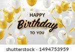 happy birthday balloons gold... | Shutterstock .eps vector #1494753959