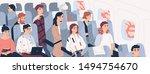 passengers on airplane board...   Shutterstock .eps vector #1494754670