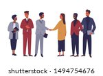 businessman and businesswoman... | Shutterstock .eps vector #1494754676