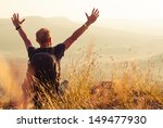 feeling freedom man greeting... | Shutterstock . vector #149477930