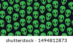 Childish seamless pattern with aliens faces ufo. Sci-fi pattern on dark background. Hand drawn doodle style. Alien pattern, kids pattern in doodle hand drawn style. 90s. - Vector