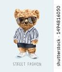 cute bear toy in fashion... | Shutterstock .eps vector #1494816050