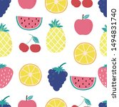cute fruit background with... | Shutterstock .eps vector #1494831740