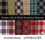 Set Tartan Plaid Scottish Seamless Pattern. Texture from tartan, plaid, tablecloths, shirts, clothes, dresses, bedding, blankets and other textile. Vol 35