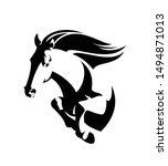 Stock vector wild mustang horse jumping forward black and white vector of speeding stallion 1494871013