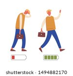 energetic and exhausted workers ... | Shutterstock .eps vector #1494882170