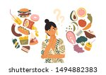 woman choosing between healthy... | Shutterstock .eps vector #1494882383