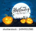 smiling pumpkins and lettering...   Shutterstock . vector #1494931580