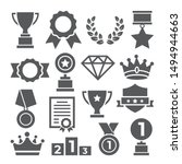 awards icons set on white... | Shutterstock .eps vector #1494944663
