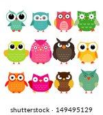Stock vector vector owls set 149495129