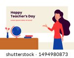 happy teacher's day background... | Shutterstock .eps vector #1494980873