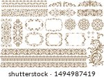 vintage ornament set. floral... | Shutterstock .eps vector #1494987419