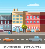 empty street vector  buildings... | Shutterstock .eps vector #1495007963