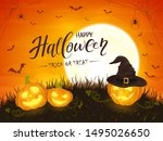smiling pumpkins with hat of... | Shutterstock .eps vector #1495026650
