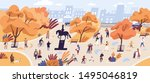 people walking in autumn park... | Shutterstock .eps vector #1495046819