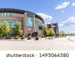 Small photo of CHICAGO, IL, USA - AUGUST 23, 2019: The exterior of the MLB's Chicago White Sox's Guaranteed Rate Field. The baseball stadium has had many name changes over the years but is best known for Comisky.