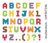 Vector Pixel Art Alphabet Set...