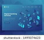 digital banking isometric... | Shutterstock .eps vector #1495074623