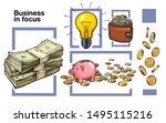 hand drawn stack of cash  piggy ... | Shutterstock .eps vector #1495115216