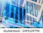 stock market graph on... | Shutterstock . vector #1495129790