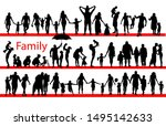 set of silhouettes of families... | Shutterstock .eps vector #1495142633