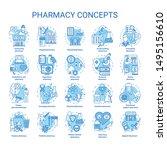 pharmacy concept icons set.... | Shutterstock .eps vector #1495156610