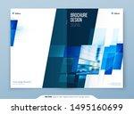 blue brochure cover template... | Shutterstock .eps vector #1495160699