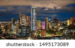 Bogota City Capital of Colombia Skyline Night Panoramic View